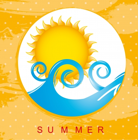 water theme: summer card with sea and sun Illustration