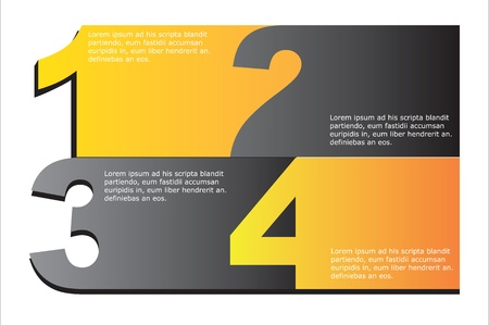 Gray and yellow numbers background, Vector illustration Ilustracja