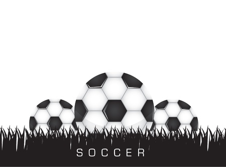 Black and white soccer background with three balls, space to insert text or deisgn, Vector illustration Vector
