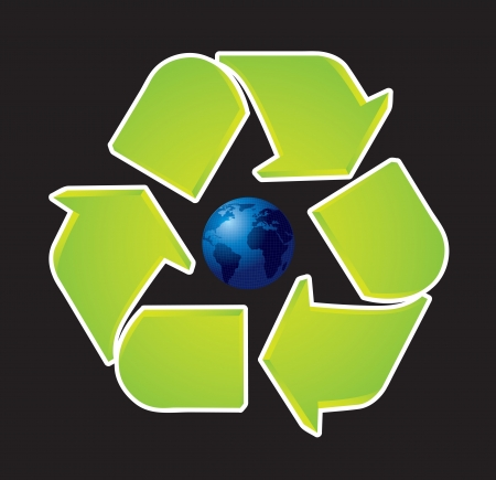 Recycle icon with earth on center, Vector illustration Vector