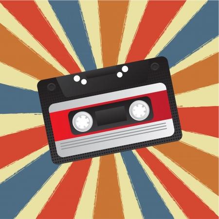 compact cassette: Old audio cassette on colors background, Vector illustration  Illustration