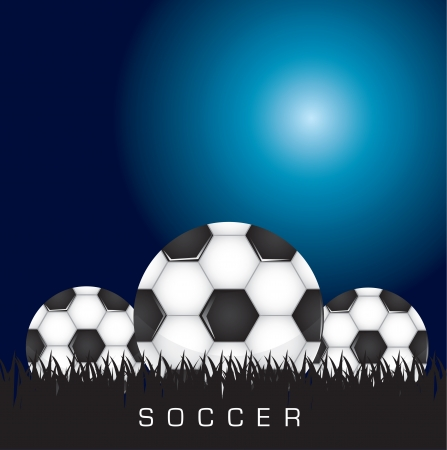 deisgn: Black and white soccer background with three balls, space to insert text or deisgn, Vector illustration Illustration