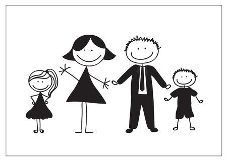 Familie trekken op een witte achtergrond, silhouetten illustratie,