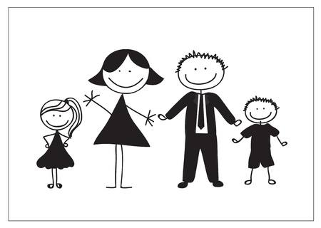 black family smiling: Family draw on white background, silhouettes illustration,