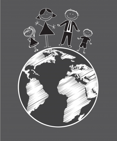 Black and white illustration of family on gray background Vector