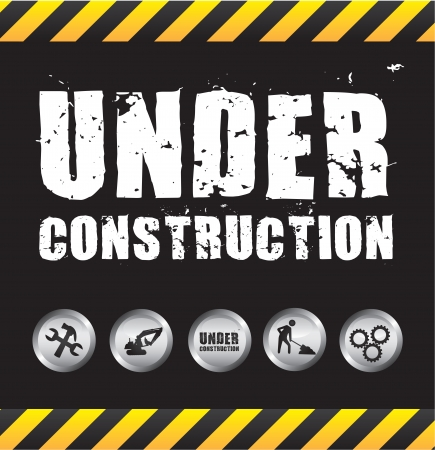 contruction: Under construction black and white background, Vector illustration Illustration