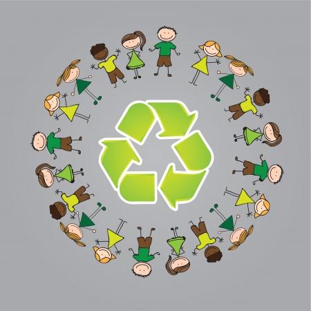 ni�os reciclando: Los ni�os alrededor del s�mbolo de reciclaje sobre fondo gris, ilustraci�n vectorial Vectores