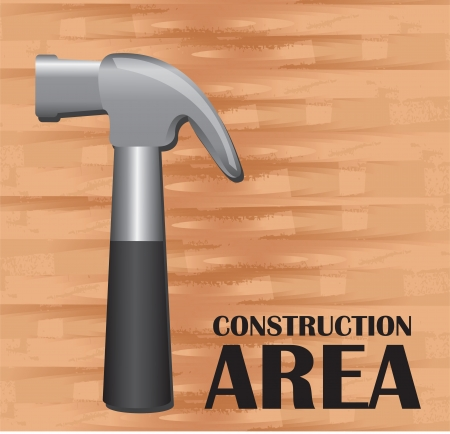 construction area background, hammer on wooden background, space to insert text or design Vector