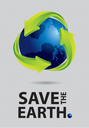 Save the earth canvas, world and recycle sign on gray background Vector