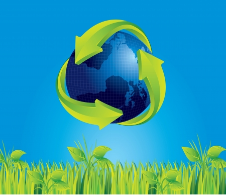 Earth with recycle sign on blue sky background, vector illustration Stock Vector - 14375033