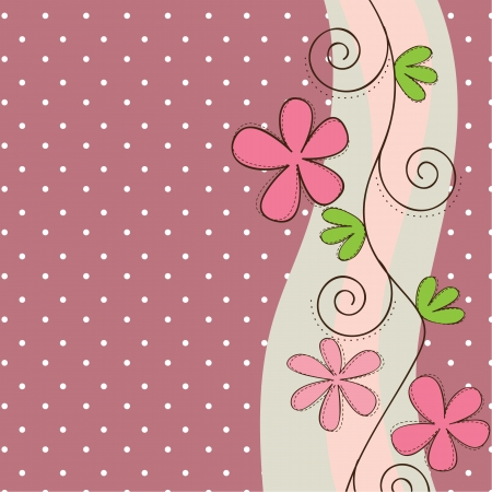 Pink and green flowers background, space to insert text or design Vector