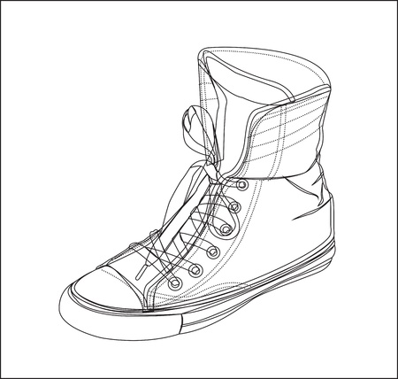 tennis shoe: Tennis silhouette on a white background, vector illustration