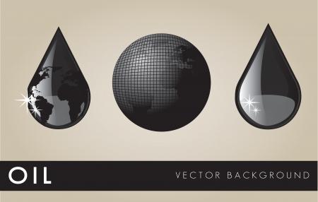 неочищенный: Нефть черные элементы на бежевом фоне, векторные иллюстрации