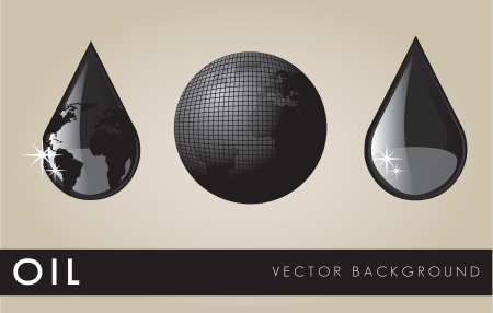 industrial drop: Oil black elements on beige background, vector illustration