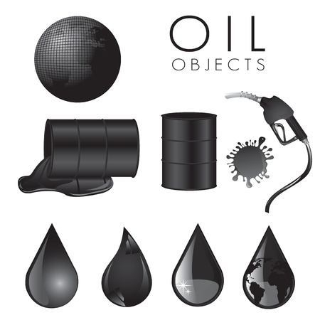 oil exploration: Elements and drops of oil, symbols on a white background, vector illustration Illustration