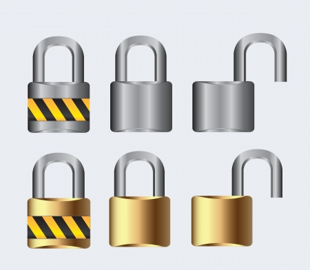 silver and gold lock open and closed on a white background, vector illustration Stock Vector - 14375081
