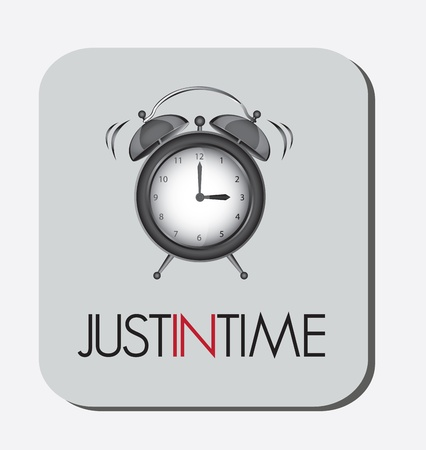 time pressure: Just in time clock illustration, vector design