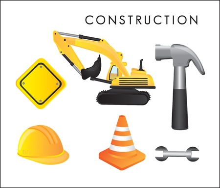 Different construction tools on white background, vector illustration Stock Vector - 14375040