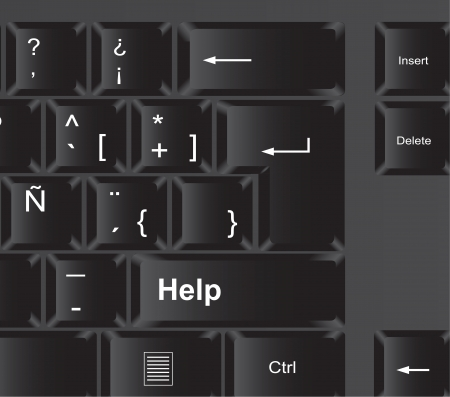 Help key on black keyboard, vector illustration Stock Vector - 14375083