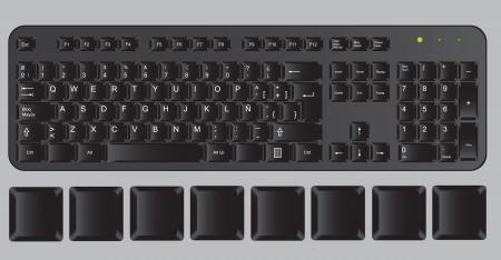 Black computer keyboard on gray background, vector illustration Stock Vector - 14375055