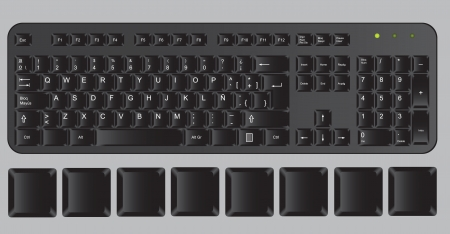 Black computer keyboard on gray background, vector illustration Stock Vector - 14375055