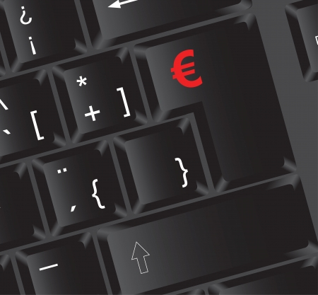 Keyboard with euro sign on enter key, vector illustration Stock Vector - 14375099
