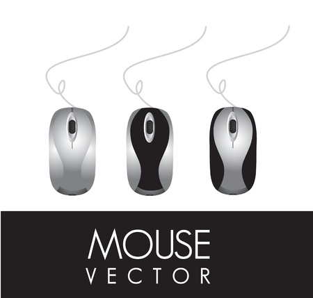 scroll wheel: three different computer mouse on a white background, vector illustration Illustration
