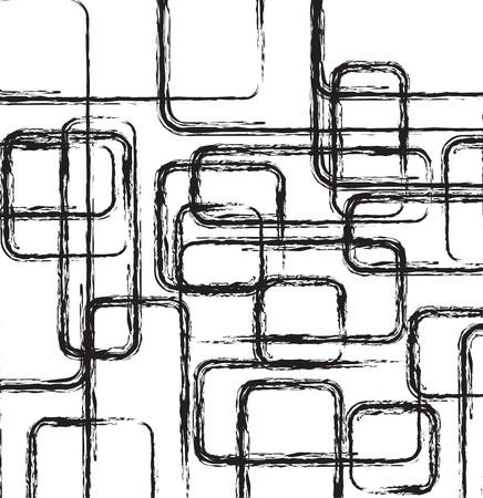 grid black background: black and white abstract shapes, vector illustration
