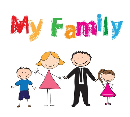 black family smiling: Draw of family with colors, vector illustration