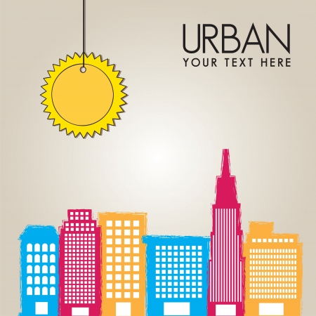 City colors with sun on beige background, vector illustration Stock Vector - 14374992