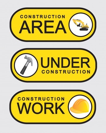Signs of construction on yellow background, vector illustration Vector