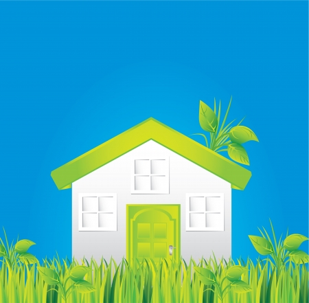 green house on grass with blue sky background Stock Vector - 14375053
