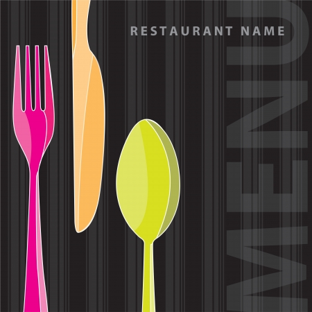 spoon yellow: fork, knife and spoon on menu bakground, Vector illustration Illustration