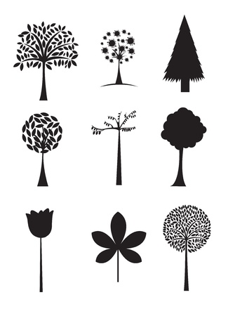 Black silhouettes of different trees, vector illustration Stock Vector - 14375116