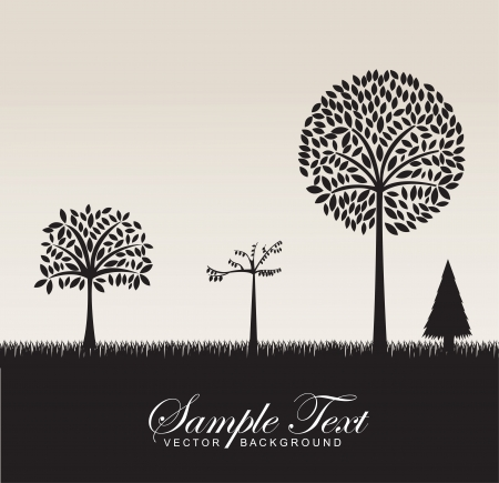 Black silhouettes of different trees, vector illustration Vector