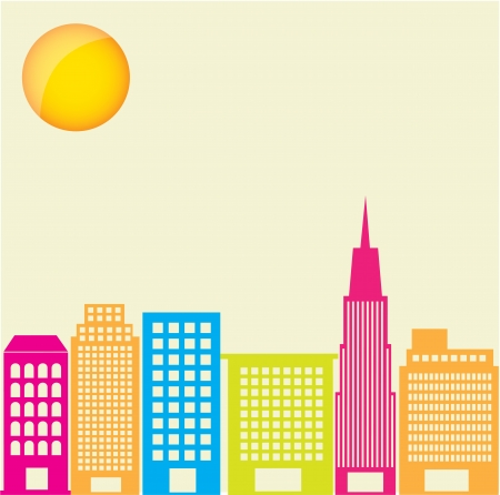 City silhouette eith colors and sun, vector illustration  Vector