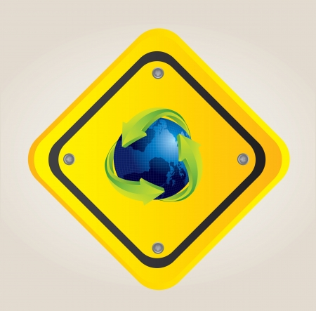 Planet earth with a recycling symbol on a traffic signal Stock Vector - 14375026