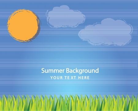Sun, sky and grass vector illustration, summer concept Stock Vector - 14374999