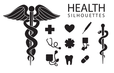 health silhouettes on white background, vector illustration Vector