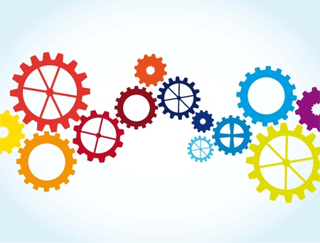 rueda dentada: engranajes de colores sobre fondo azul. ilustraci�n vectorial