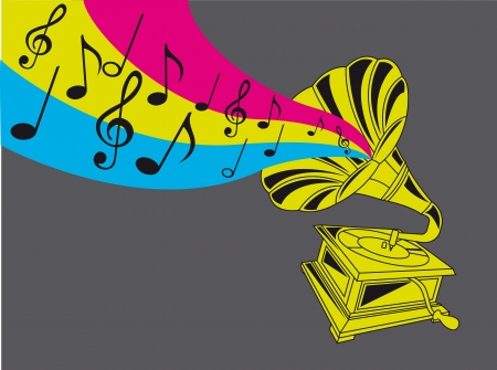 colorful gramophone over gray background. vector illustration Vector