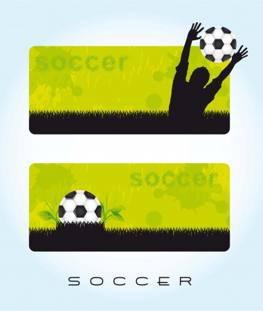 green banner soccer with ball and silhouette men. vector illustration Vector