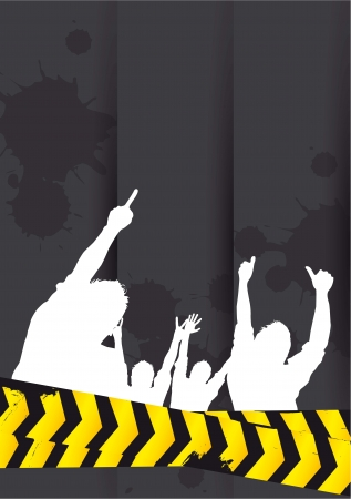 man and banner: silhouette man banner, blank. vector illustration Illustration