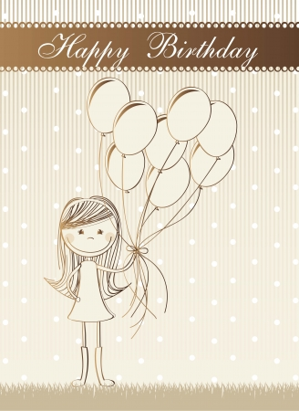 Bronze Birthday Card With Cute Girl With Balloons Vector
