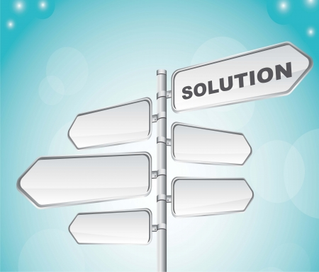 road sign with solution text over sky background. vector illustration Stock Vector - 14374987