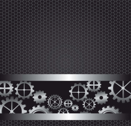 black background texture with gears. vector illustration Vector