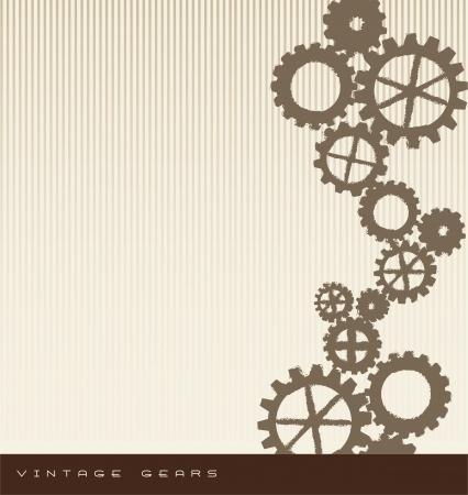 vintage gears over beige background. vector illustration Vector