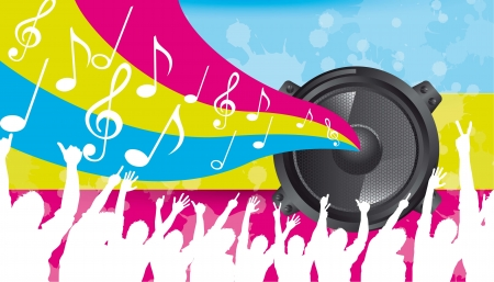 silhouette men with speaker and musical notes. vector Stock Vector - 14374874