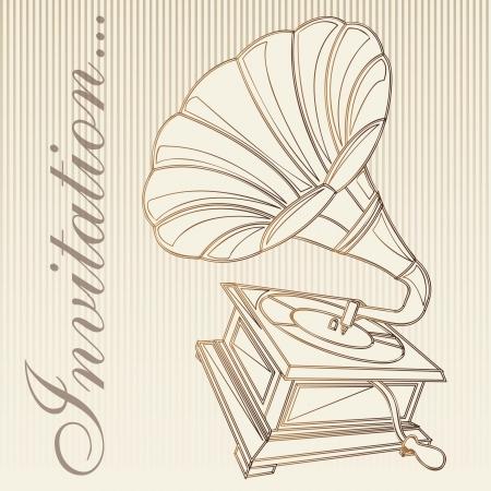 Grammophon Jahrgang, Einladungskarte. Vektor-Illustration