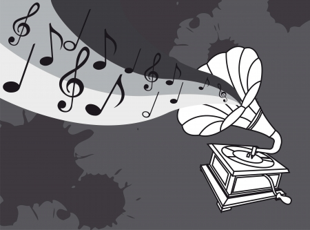 old gramophone over gray background. vector illustration Vector